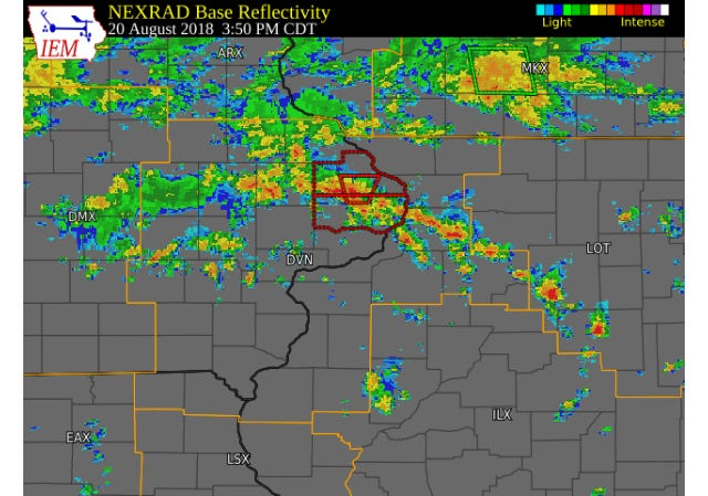 National Weather Service radar from Monday, Aug. 20, 2018 shows storms across eastern Iowa. One of the storms produced a tornado near Delmar, in Clinton County.