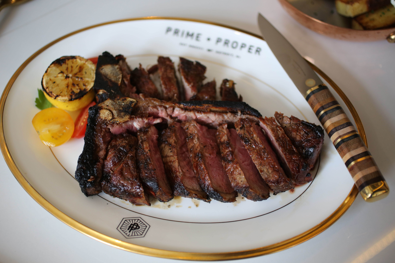 A 24-ounce porterhouse steak from Prime + Proper in Detroit's Capitol Park neighborhood.
