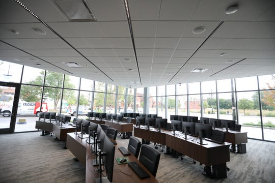 The Bloomberg Computer Terminal room seen on the media tour the new Mike Ilitch School of Business at Wayne State University's downtown campus in Detroit on Tuesday, Aug. 21, 2018.