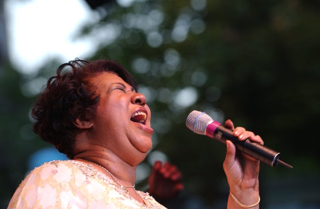 Aretha Franklin graced the stage at the 25th Ford Detroit International Jazz Festival on Sept. 6, 2004, at Hart Plaza in Detroit.