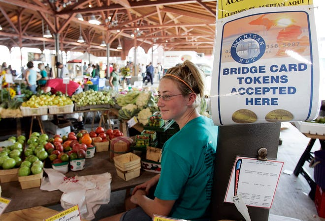 Detroit's Eastern Market accepts food stamps as payment for fruits and vegetables.