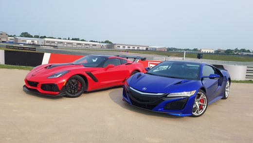 Odd couple. The 755-horsepower Corvette ZR1, left, gets it grunt from a front-mounted, supercharged, push-rod V-8. The Acura NSX is more complicated with a 573-horse, hybrid-electric, mid-engine, twin-turbo V-6 and three electric motors turning all four wheels.