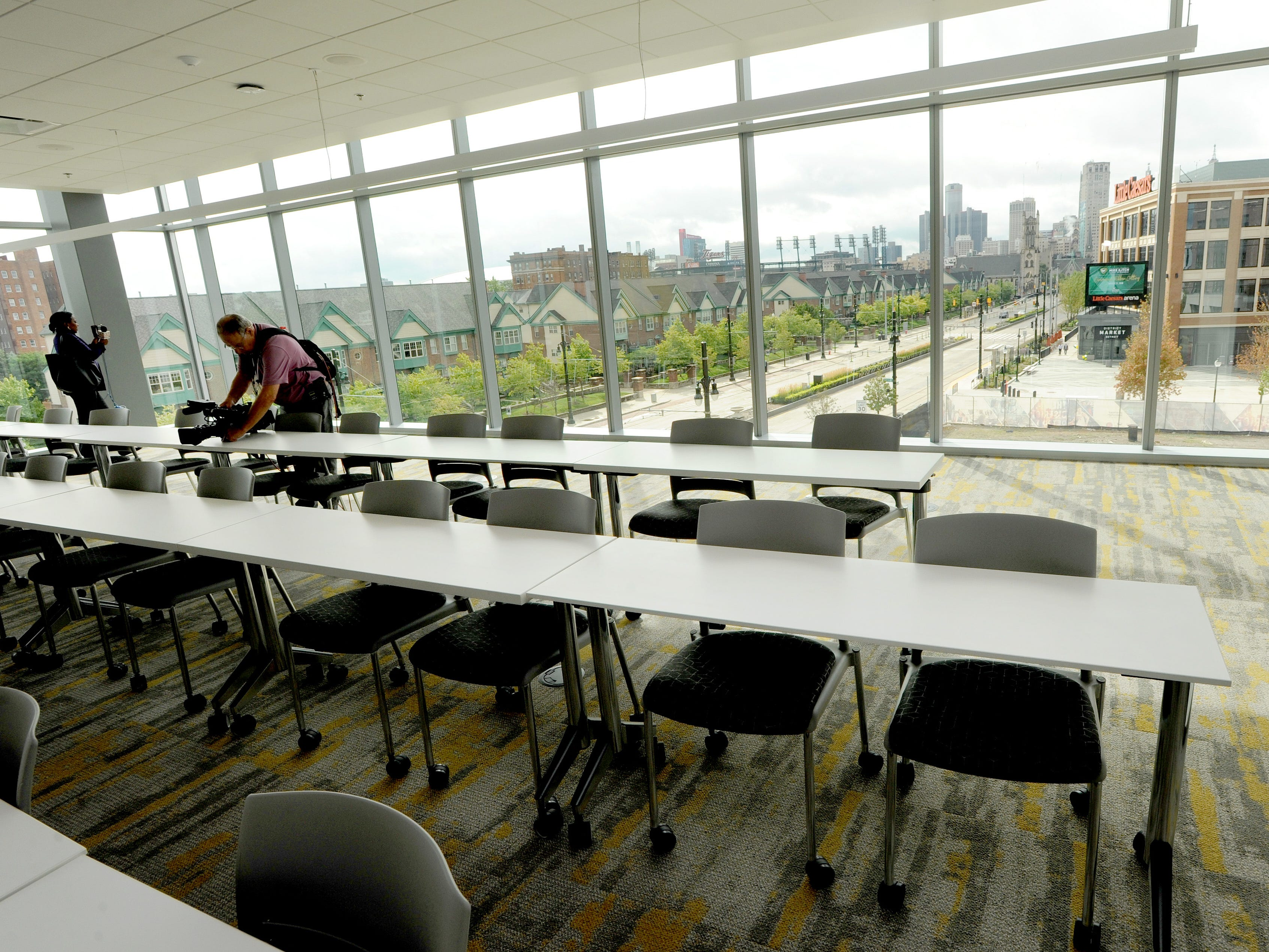 Several classrooms have clear views of downtown Detroit at the Mike Ilitch School of Business at Wayne State University.