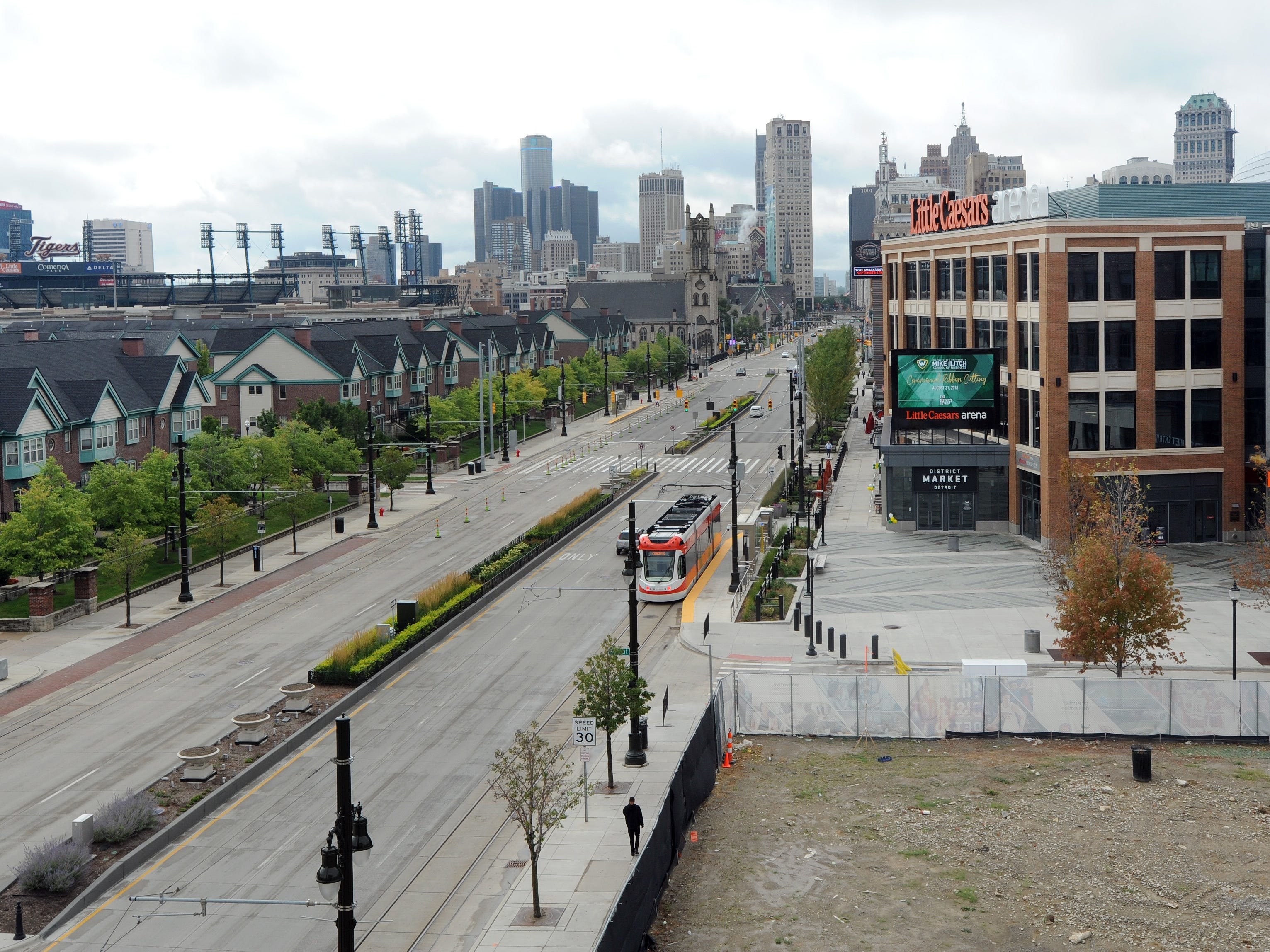 The view of downtown Detroit as seen from the terrace of the Mike Ilitch School of Business at Wayne State University.