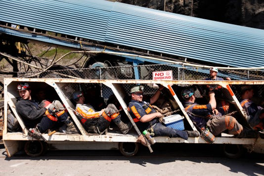 Miners Sit In A Mantrip Break Car Outside Teco Energy S E3 1 Coal Mine