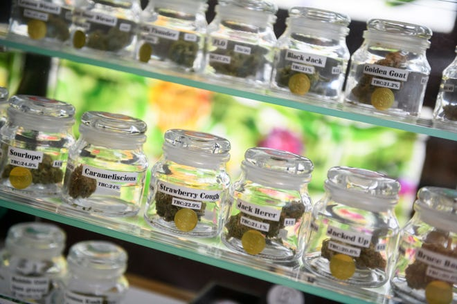 Marijuana for sale at Bloom City marijuana dispensary in Ann Arbor. The questions local officials are grappling with include how many dispensaries to allow, where they can be located and what other limitations should be placed on their operations.