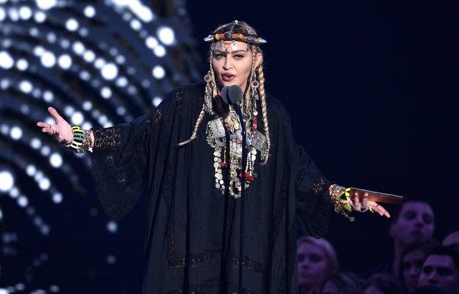 Madonna presents a tribute to Aretha Franklin at the MTV Video Music Awards at Radio City Music Hall on Mondayn New York.