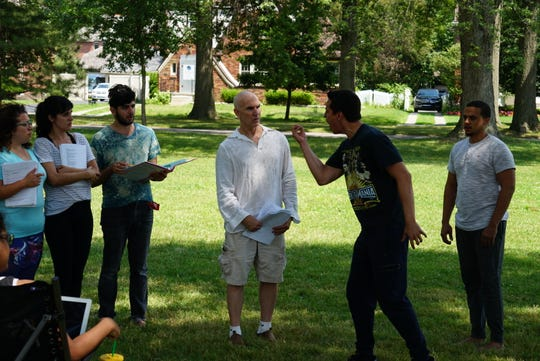 """A moment of tension in Shakespeare in Detroit's """"Much Ado Para Nada,"""" which opens Thursday in Clark Park."""