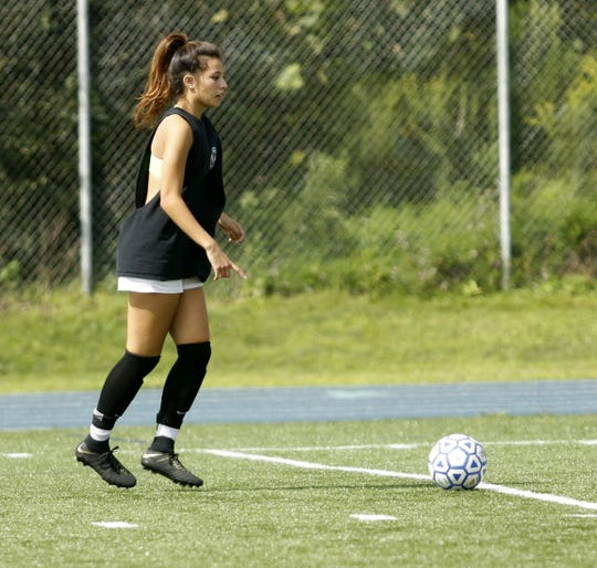 Notre Dame senior Laurel Vargas, shown during practice Aug. 17, has 98 career goals entering the 2018 season. She has been a four-time all-state pick.