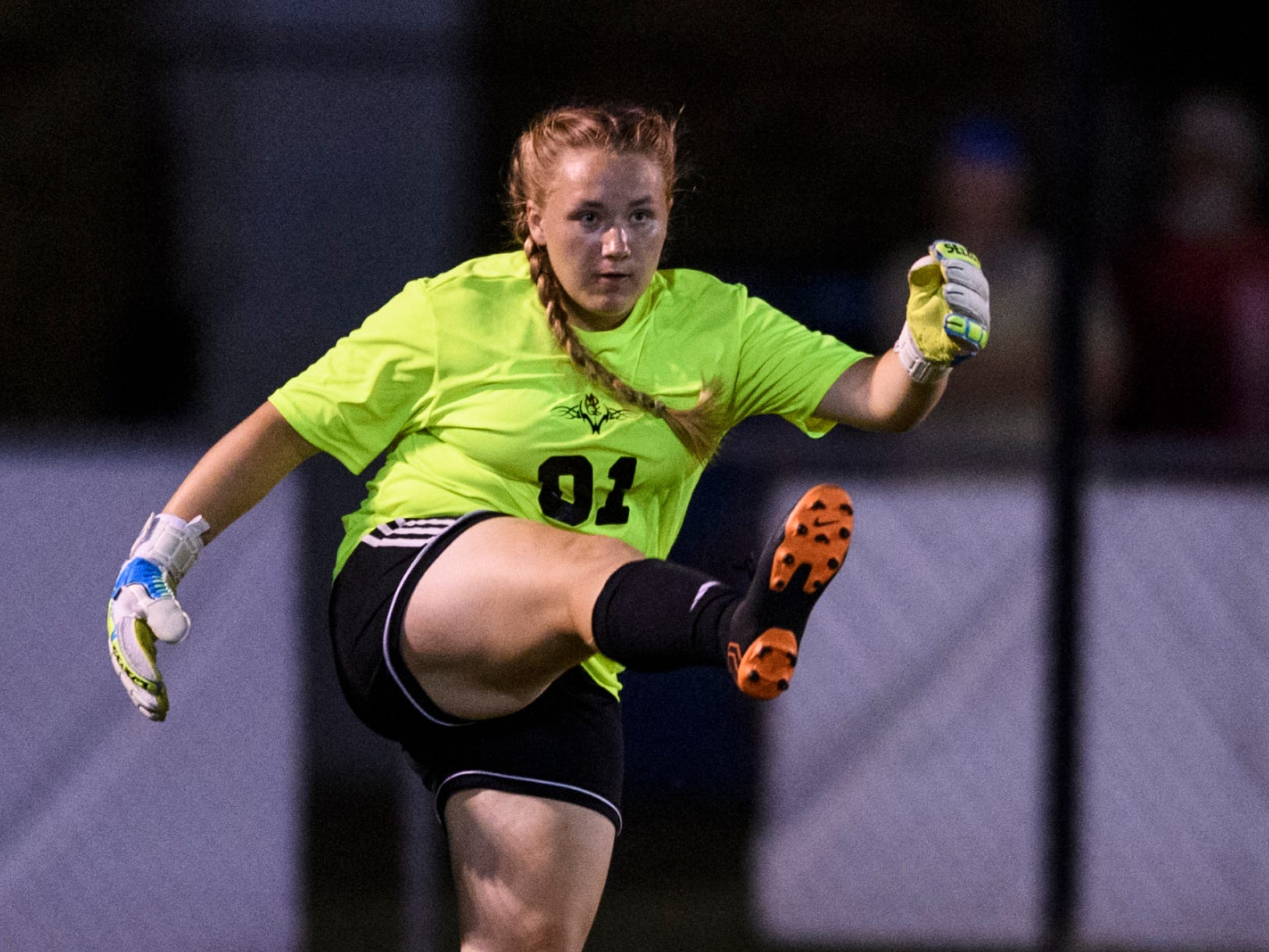 Mater Dei Goalie Sabrina Henderson (01) kicks the ball back into play during the match against the Memorial Tigers at the EVSC Soccer Fields in Evansville, Ind., Monday, Aug. 20, 2018. The Tigers defeated the Wildcats 4-0.