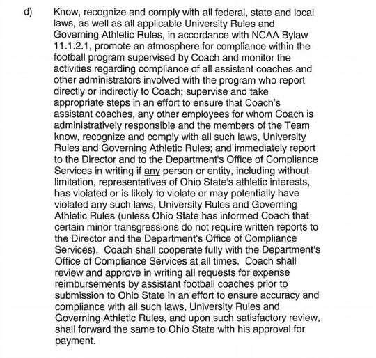 Urban Meyer Contract, Clause 4.1-D