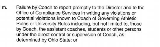 Urban Meyer Contract, Clause 5.1-M