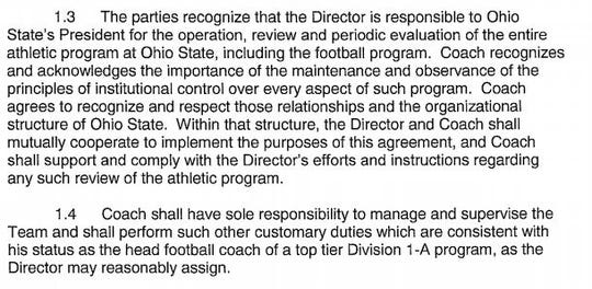 Urban Meyer Contract, Clauses 1.3 and 1.4