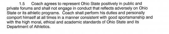 Urban Meyer Contract, Clause 1.5