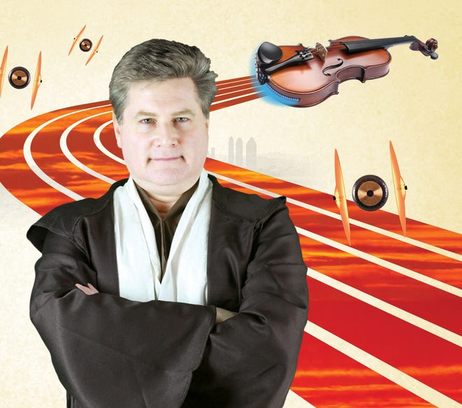 "Gulf Coast Symphony conductor Andrew Kurtz wears Jedi robes in this promotional image for ""Star Wars Summer Family Concert."""