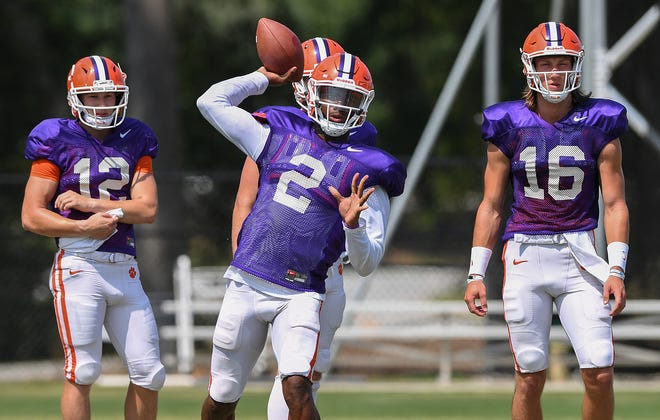 Clemson quarterback Kelly Bryant (2) during the Tigers practice on Tuesday, August 21, 2018.