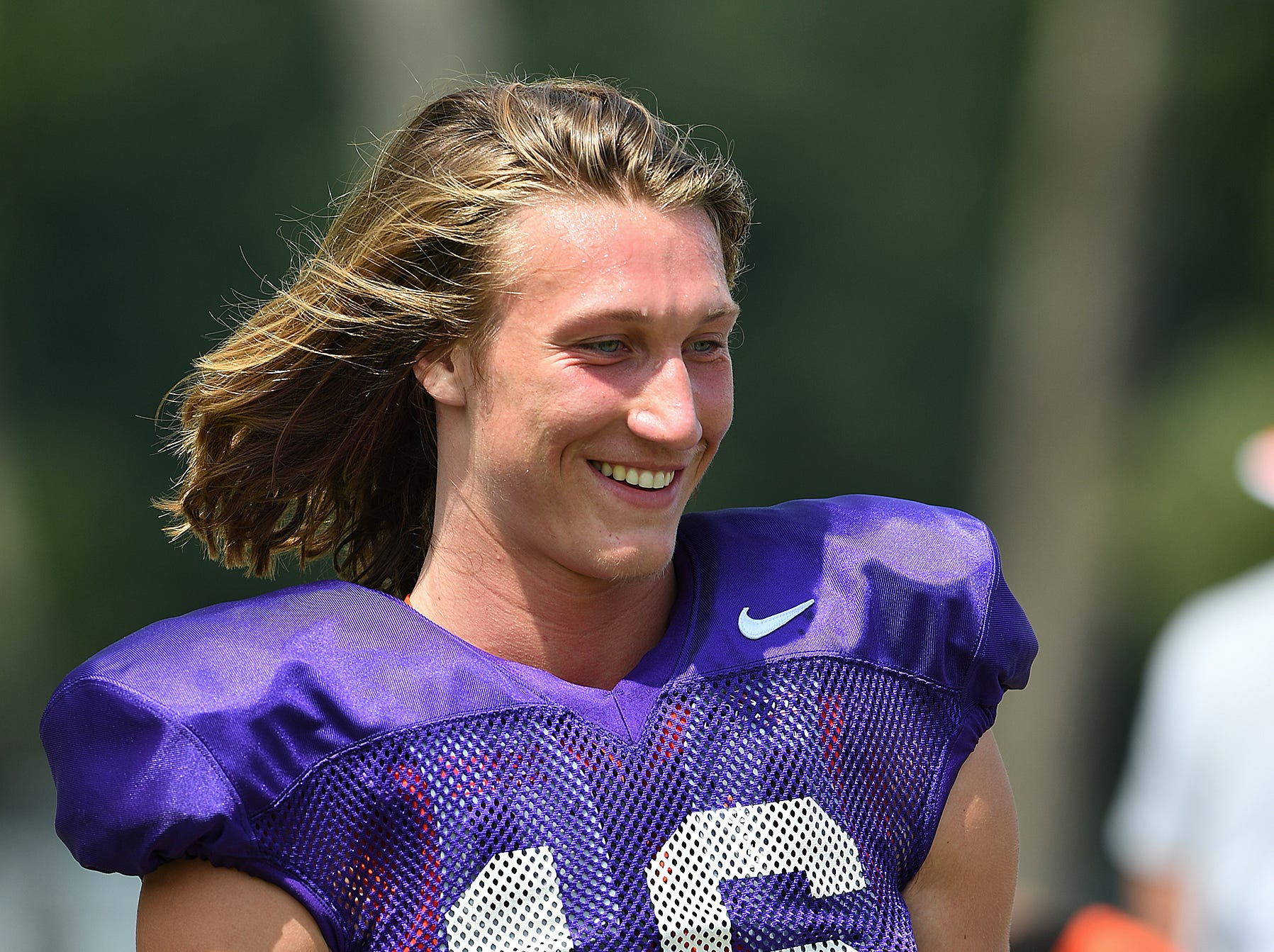 Clemson quarterback Trevor Lawrence (16) during the Tigers practice on Tuesday, August 21, 2018.