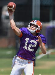 Clemson quarterback Ben Batson (12) during the Tigers practice on Tuesday, August 21, 2018.