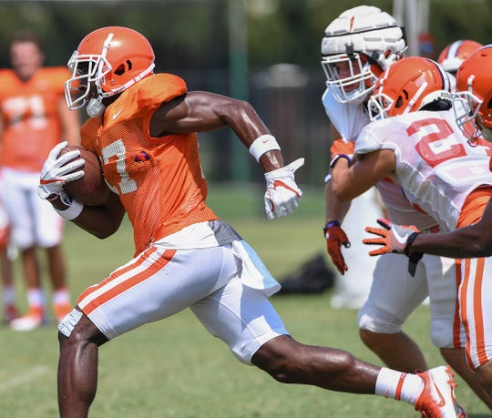 Clemson wide receiver Cornell Powell (17) during the Tigers practice on Tuesday, August 21, 2018.