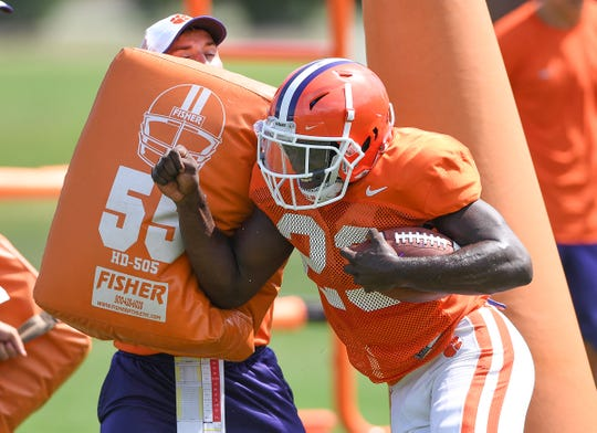 Clemson running back Lyn-J Dixon (23) during the Tigers practice on Tuesday, August 21, 2018.