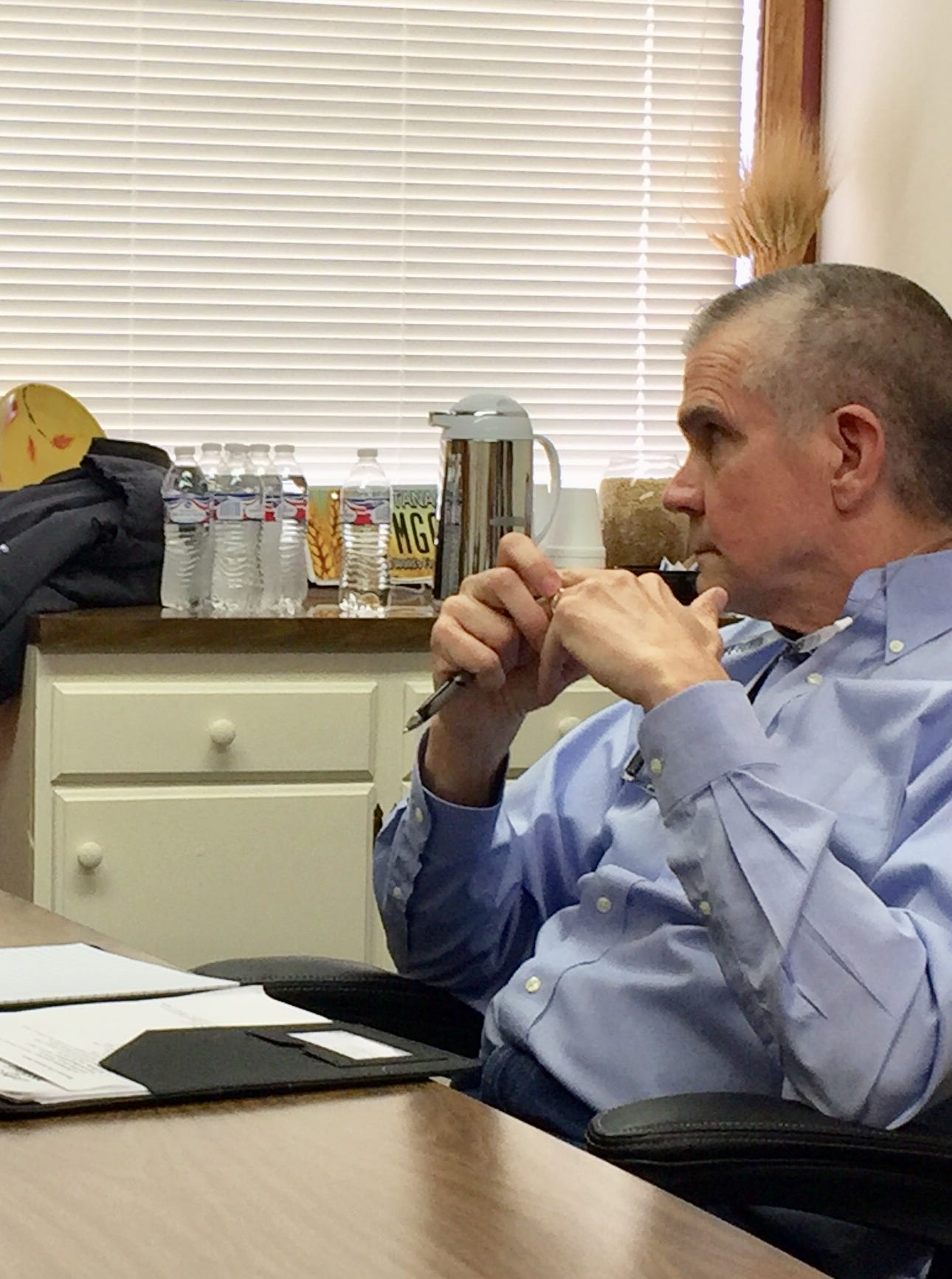 Farmer Charlie Bumgarner, left, talks Tuesday with GOP Senate candidate Matt Rosendale in Great Falls