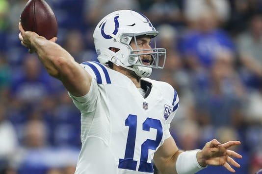 Indianapolis Colts Quarterback Andrew Luck 12 Passes During Nfl Football Preseason Game At Lucas Oil Stadium In Indianapolis Monday August 20 2018