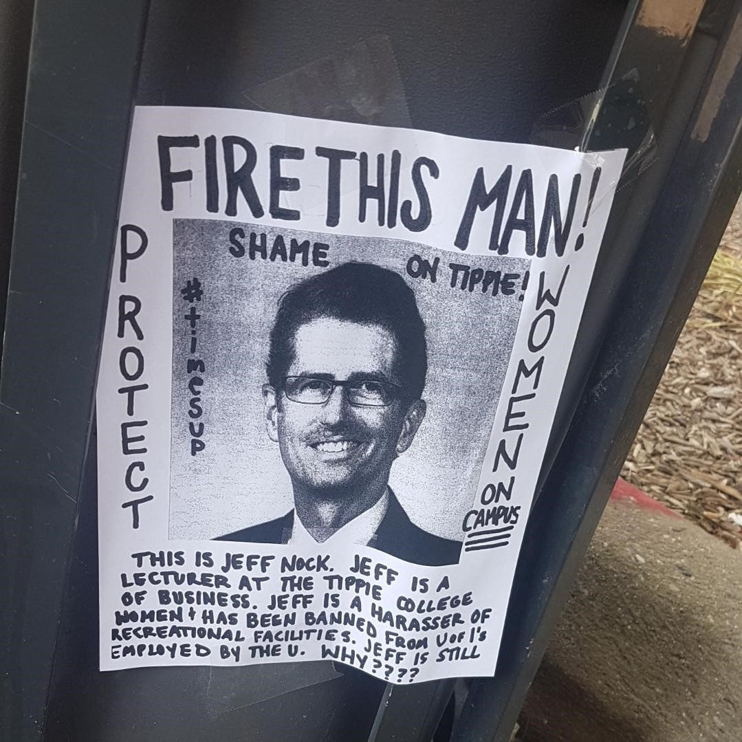 Madison Pecaitis took a picture of a flier demanding that UI fire Jeffery Nock, the UI lecturer who was banned from the campus recreation center inappropriate behavior.