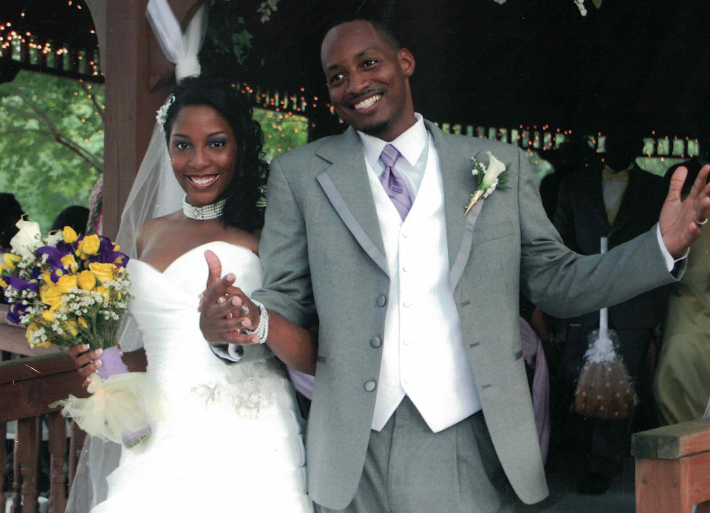 Dr. Channing Wells, O.D. with her late husband Josie Wells, Sr. after exchanging vows on their wedding day.