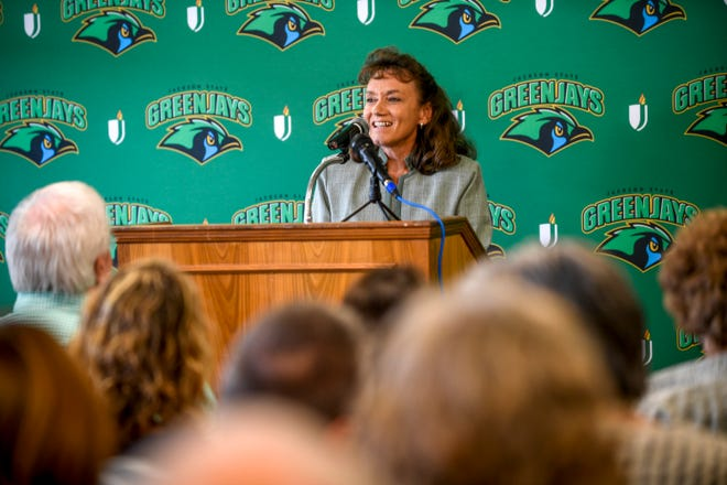 Dr. Allana Hamilton speaks to guests in attendance during the unveiling of the new Jackson State mascot, the Green Jays, at Jackson State Community College in Jackson, Tenn., on Tuesday, Aug. 21, 2018.