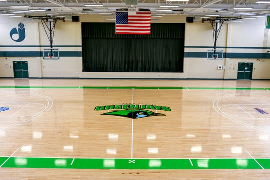 A view of the new logo on the basketball court during the unveiling of the new Jackson State mascot, the Green Jays, at Jackson State Community College in Jackson, Tenn., on Tuesday, Aug. 21, 2018.