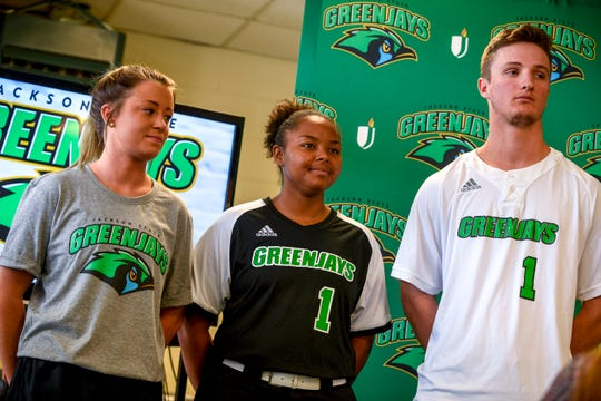 Student athletes model the new team logo on various shirts during the unveiling of the new Jackson State mascot, the Green Jays, at Jackson State Community College in Jackson, Tenn., on Tuesday, Aug. 21, 2018.