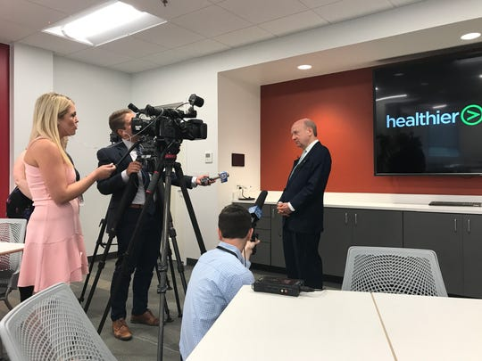 """Rick Johnson, CEO of the Governor's Foundation on Health and Wellness, answers questions from the media after a """"State of the State's Health"""" roundtable discussion Tuesday morning at Pilot Flying J corporate headquarters in Knoxville."""