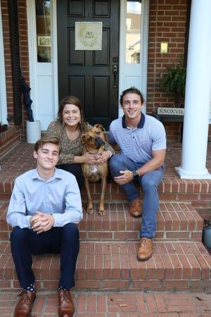 Paul Fain family: Back left is Macy Fain Galyon, 27, Mabel the dog, 8, and Jackson Fain, 24. Front is Harrison Fain, 19.