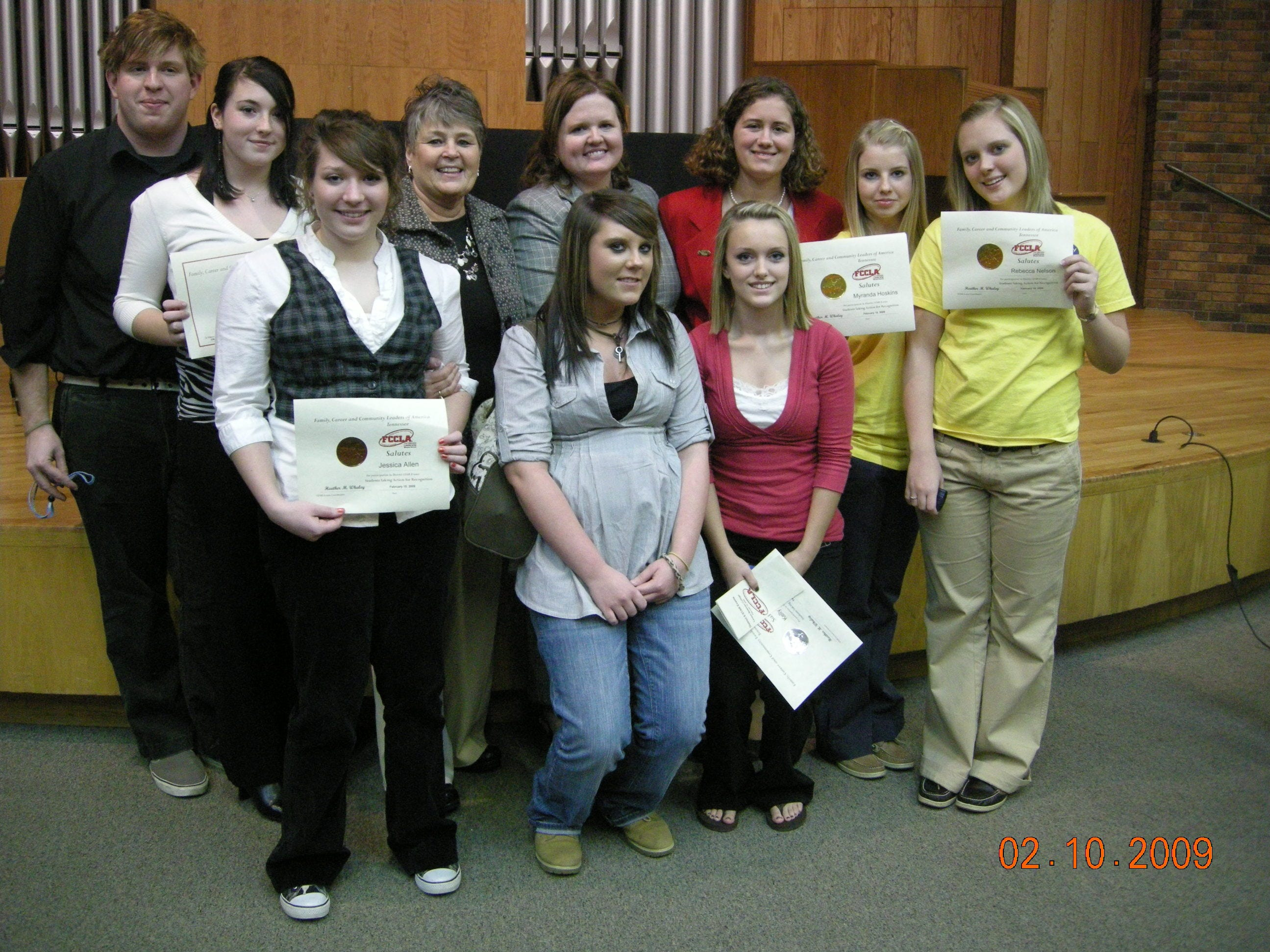 Campbell County Comprehensive High School Family, Career and Community Leaders of America club members scored big at the District 8 Students Taking Action with Recognition Competition at Carson Newman College. Pictured first row, from left, Savanna Allen and Kelly Carroll; second row, from left, Danny Wilhoit, Amber Alford, Jessica Allen, Sandy Gregory, Heather Whaley, Samantha Sutherland, Myranda Hoskins and Rebecca Nelson.