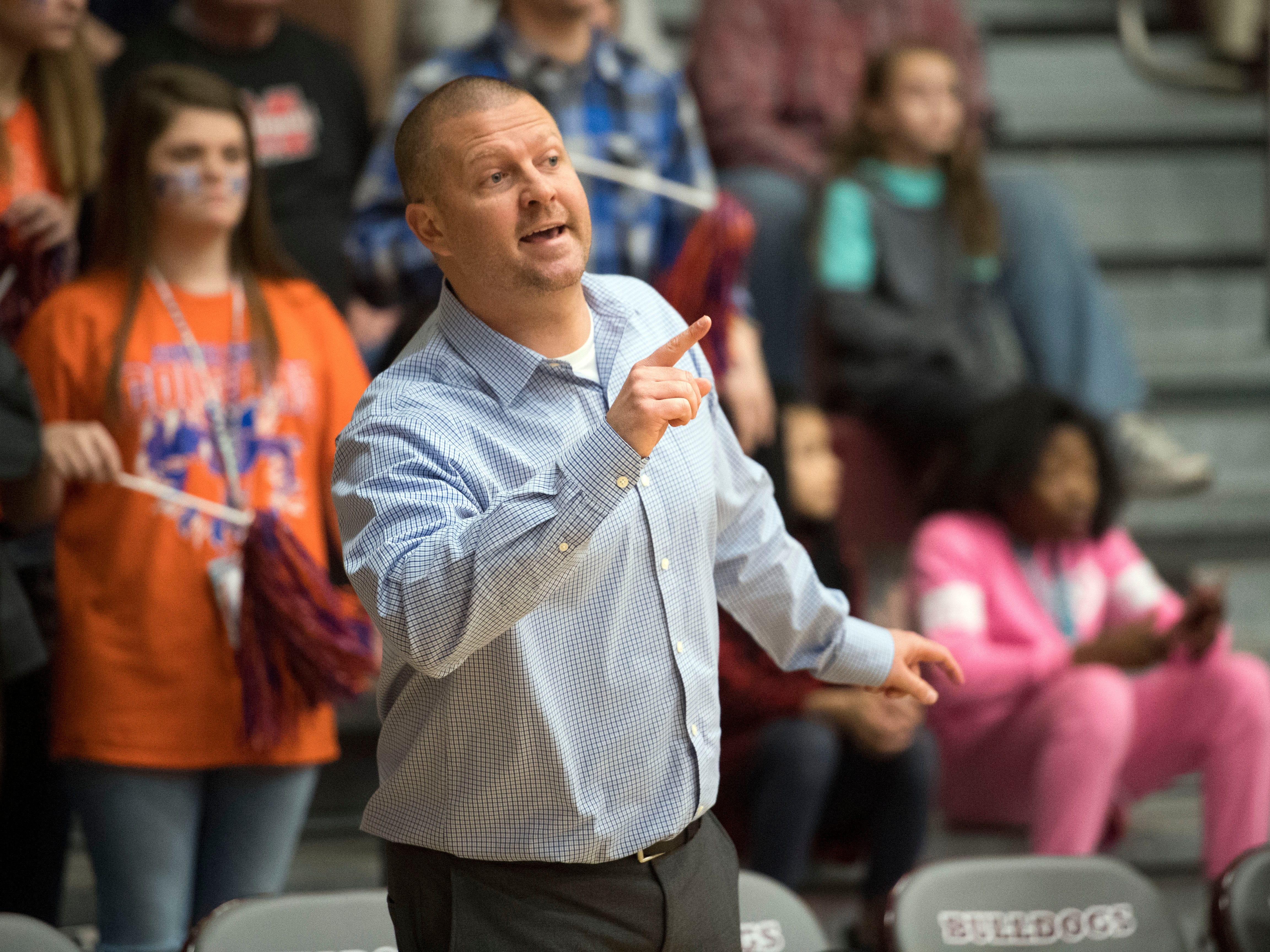 Campbell County basketball coach Brad Honeycutt yells out directions to the team the Region 2-AAA girls basketball semifinals against Bearden on Monday, February 26, 2018.