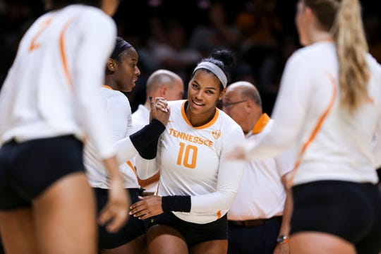 Outside hitter Breana Jeter of Tennessee is introduced before a match against Louisiana-Monroe in 2016.