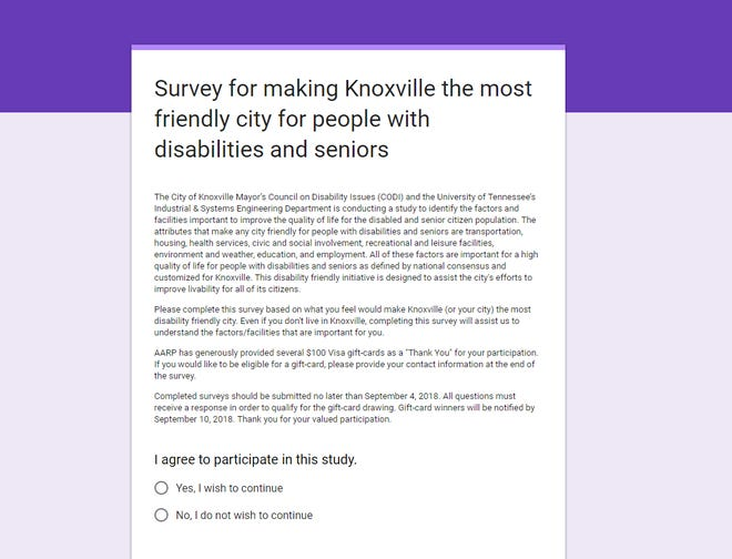 An online survey is inviting people to share how important different components of the city are to people with disabilities.