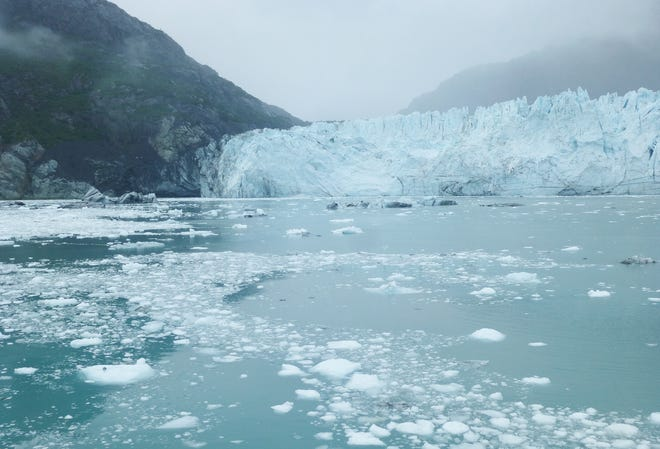"Ice floes begin their journey after ""calving"" off the face of Margerie Glacier."