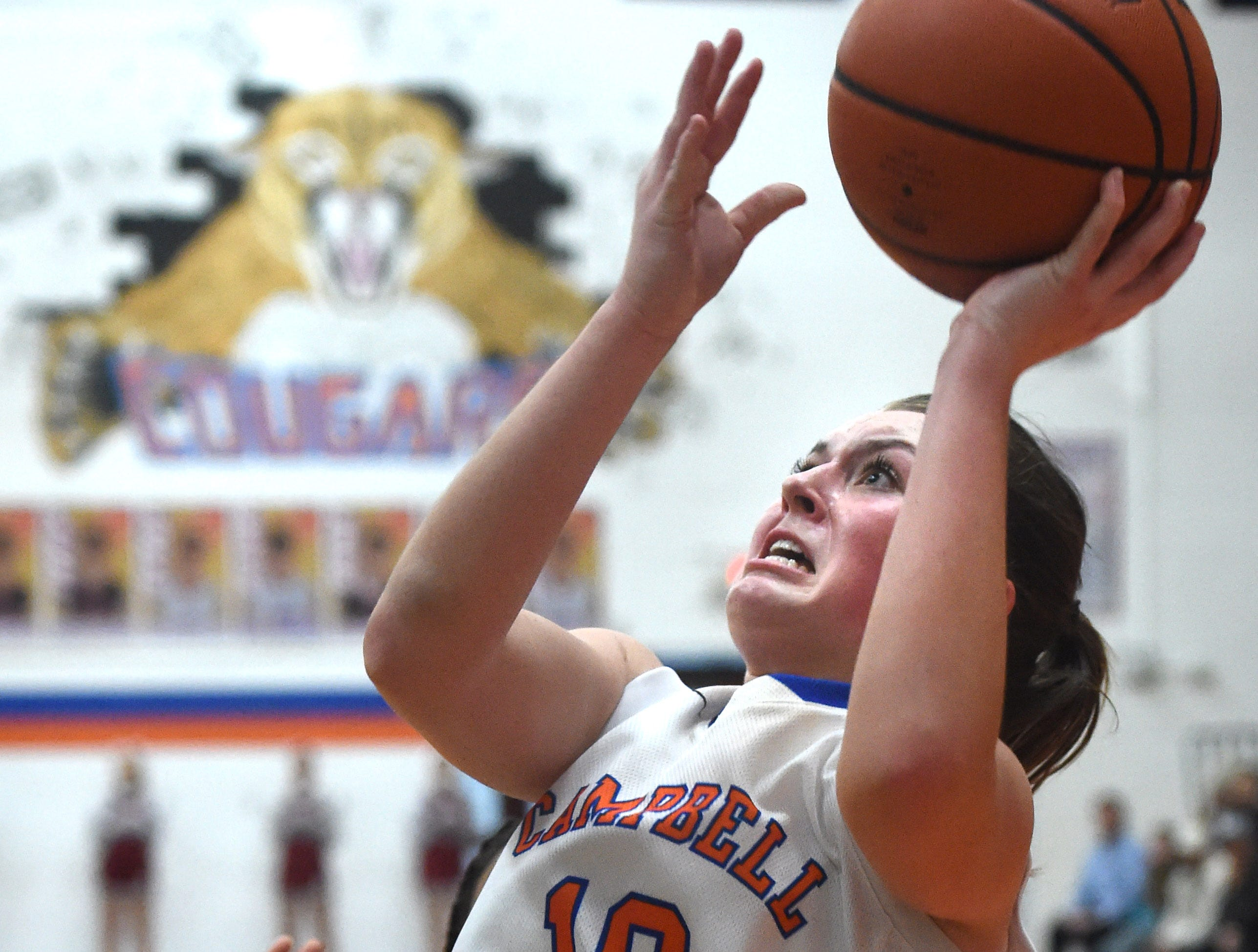 Campbell County's Sarah Cain (10) shoots a layup against Oak Ridge during a high school basketball game at Campbell County High School in Jacksboro on Friday, Feb. 12, 2016.