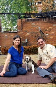 Claire Stevens and Guy Houseman with Stevens' dog Pearl.