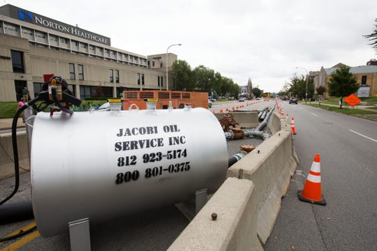 MSD fixes a collapsed sewer at Broadway and Preston on Monday, August 20, 2018.