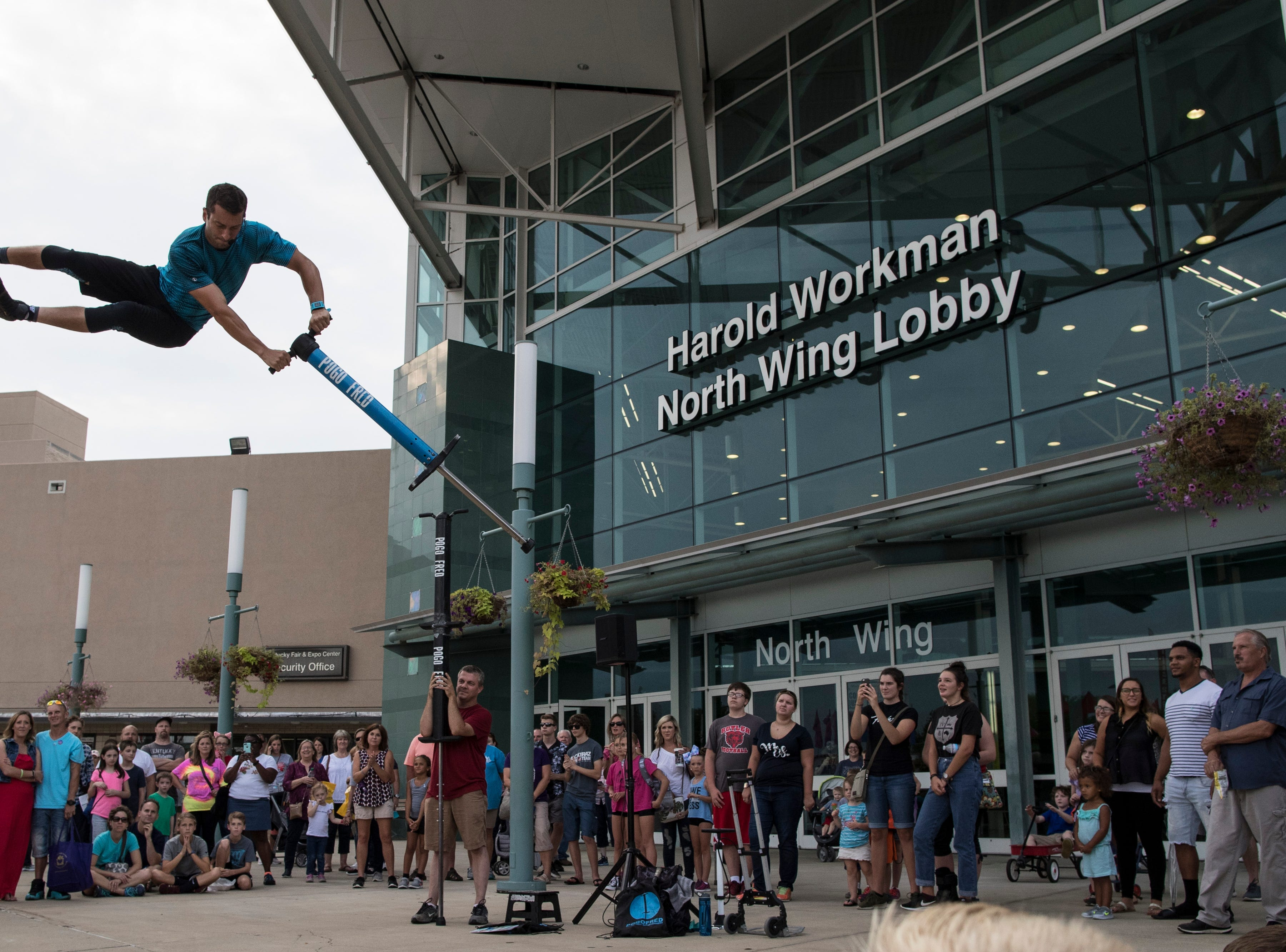 Pogo Fred performs at the Kentucky State Fair on Monday. Aug. 20, 2018