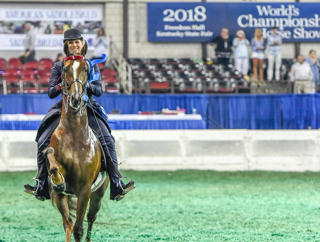 ASR SWEEPSTAKES 4 YEAR OLD 5 GAITED winner I Am What I Am (151970M) (WC) 2014 Samur (110051S) X Fluffernutter (143343M) Owner: C. Nicholas Antich and/or Carol A. Antich Center Valley, PA Breeder: Meadowview Farm LLC and Willowbank Farm Exhibitor: Suzannah Z. ShifletTrainer: Suzannah Z. Shiflet
