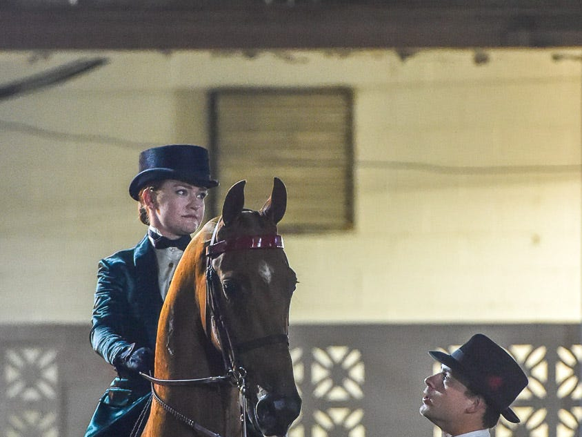 Ali Degray and trainer, Tyler Devore wait to enter Freedom Hall with Northern Asset