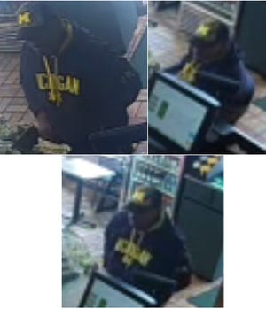 These are surveillance video images of a suspect in an armed robbery at a Subway restaurant in Lansing on Tuesday, Aug. 21, 2018.