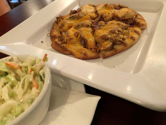The pulled pork flatbread and cole slaw at Stonewalls, Marco Island.