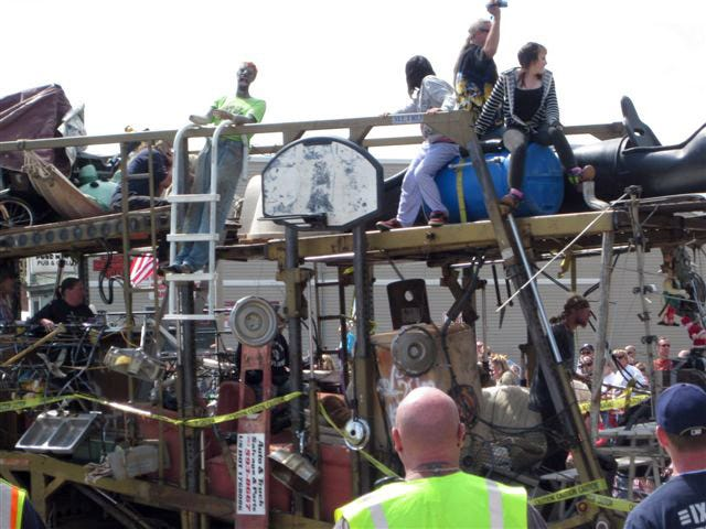 The Sullivan-Rome Junk Parade challenges participants to put together floats made of all manner of junk.
