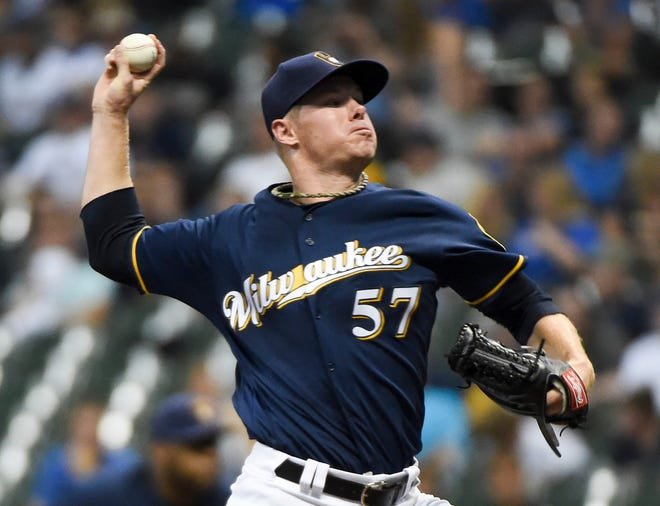 Brewers starter Chase Anderson allows just two runs on two hits with no walks and six strikeouts in six innings of work in picking up the victory against the Reds on Monday night.