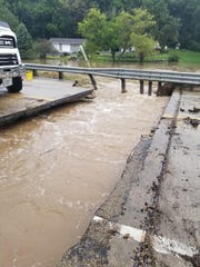 The bridge on U.S.  14 over the Black Earth Creek west of Black Earth was washed out by flooding.