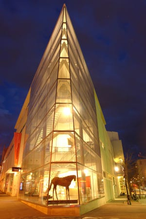 The Madison Museum of Contemporary Art has a soaring, triangle-shaped, 60-foot-tall atrium that resembles the prow of a ship.
